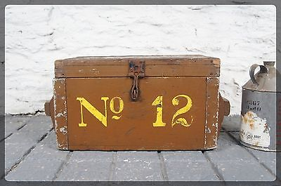 Vintage Industrial Painted Pine Military Case Chest / Trunk / Ammo Box - No. 12