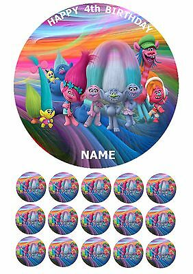 Troll Trolls 75 Round Edible Birthday Cake Topper Fairy Cupcake Toppers