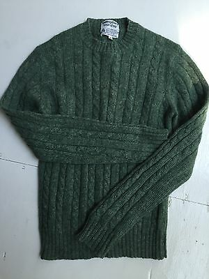 Vtg Bloomingdale's Sweater 100% Wool Cable Knit Fisherman Boys 16 L Green