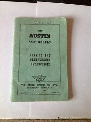 Austin 'A40' models  running and maintenance instructions