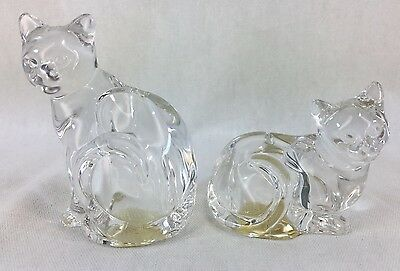Clear Glass Kitty Cat Salt and Pepper Shakers