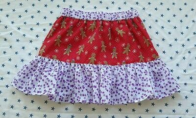 New Girls Christmas Gingerbread Man Skirt, Age 3-5 Stars. Frilly Unique. One Off