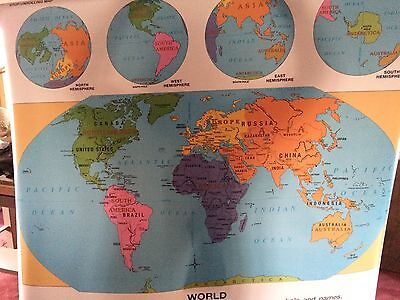 Vintage George F. Cram School Pull Down World Map, Indianapolis, IN