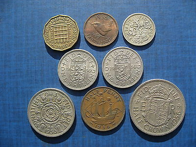 Elizabeth II Year Set 1956 including the rare 1956 Farthing.