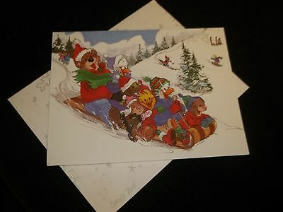 Suzy's Zoo vintage Christmas and New Year card Friends sledding