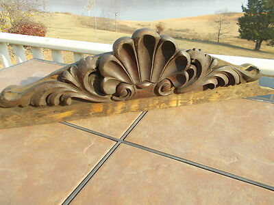Vintage Carved Oak Pediment