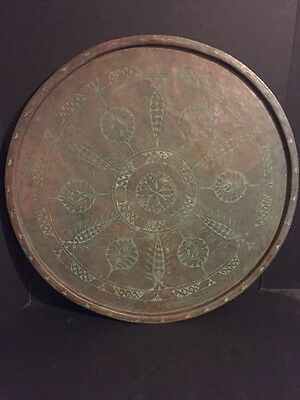 "Large & Impressive Antique Islamic Persian or Turkish 25"" Copper Tray Heavy"