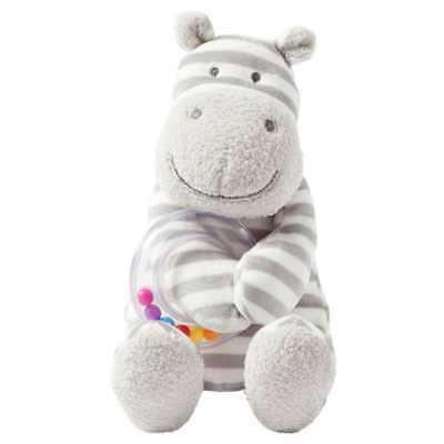 """Manhattan Toy Baby Activity Plush Toy with Ring Rattle, Hippo, 10"""""""