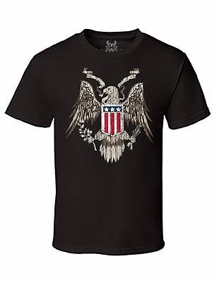 Nw Men's Printed Eagle American Flag Star Vintage Graphic Design Cotton T-Shirt