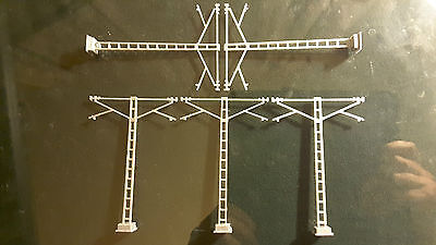 H0 Train 1:87 FIVE x5 pieces Double arm Catenary Mast HO OO