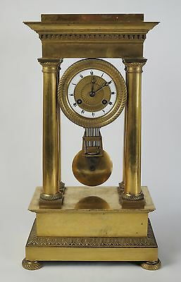 French Empire Gilt ormolu four pillar portico mantel clock c1850-80