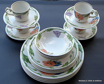"AMAPOLA ""POPPY"" by VILLEROY & BOCH ~ 20 PIECE SET ~ DINNER FOR 4, 8, OR 12"