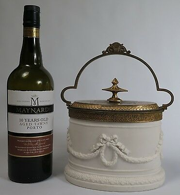 19th century Parian ware biscuit barrel c1890