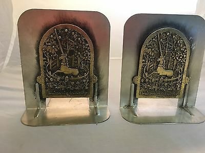 "Vintage Metzke 1980 Pair of Pewter Unicorn BOOKENDS ""Unicorn in Captivity"" USA"