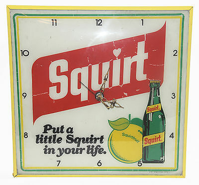 Vintage Squirt Pop Soda Light Up Advertising Wall Clock Sign Mancave
