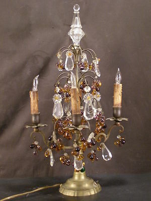 ~Antique Bronze 4 Arm Czech Glass Crystal Hanging Fruit Candle Lamp Prism Light~