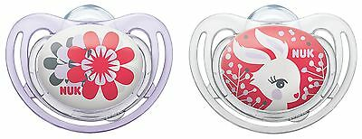 NUK Freestyle 10175111Silicone Soothers/Dummies with Ring BPA-Free Set of 2 V...