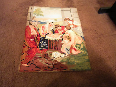 "Antique hand stitched Religious NEEDLEPOINT Birth Of Jesus 17"" x 21"""
