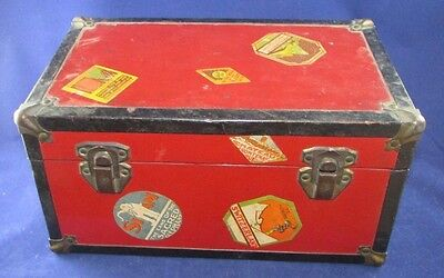 Vintage Miniature Small Red and Black Trunk Chest