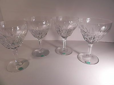 "Stuart Cut Crystal England CARDINAL 4 Wine Glasses 5"" Fine w labels, Signed EXC!"