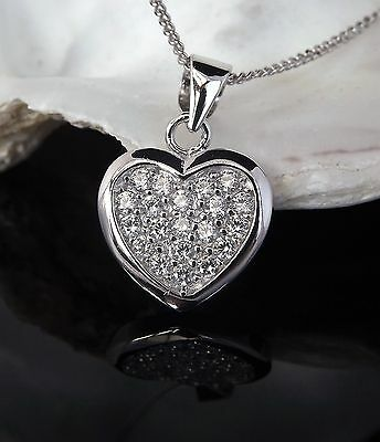Solid Sterling Silver 925 CZ Heart Pendant 18 Inch Chain Necklace Christmas Gift