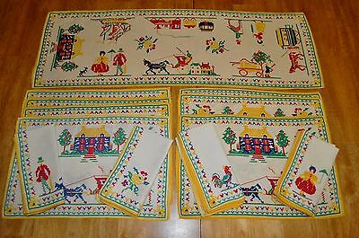 Vintage Fabric  Folk Art Tulips  Placemat Napkin & Table Runner Set 16 Pieces