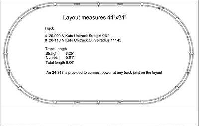 """N Kato Unitrack® 44""""x24"""" Oval Layout w/Terminal Unijoiners for DC/DCC power  NEW"""