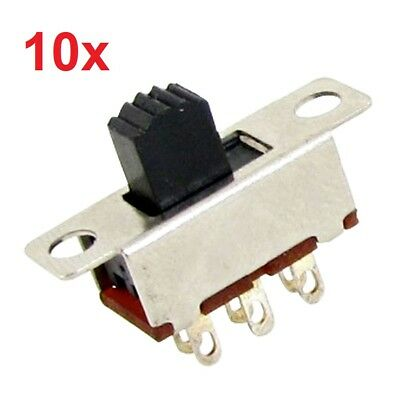 10x 6-Pin Panel Mount Vertical Slide Switches 2-Position DPDT 2P2T 0.5A 50V DC