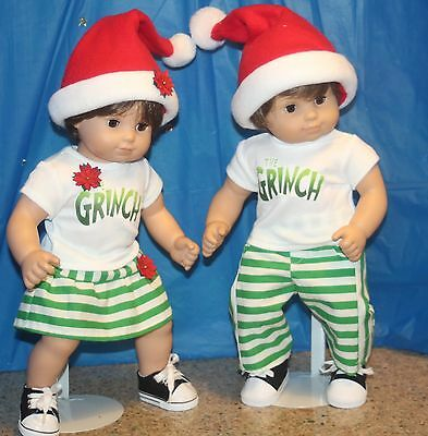 Coordinating Grinch outfits  for Bitty twins with matching hats