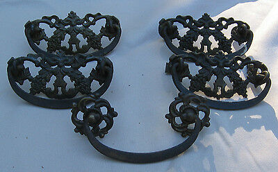Victorian Brass Drawer Pulls (5) Furniture Dresser Cabinet Handles Antique