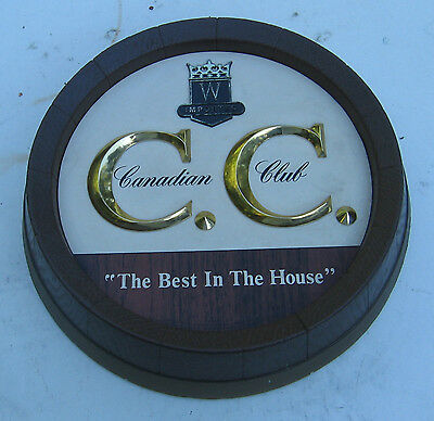 Vintage Canadian Club Imported Whisky Barrel CC Wall Hanger