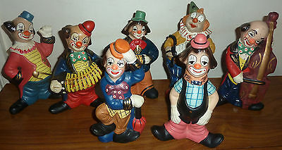 Vintage pottery clowns playing music instruments single choice