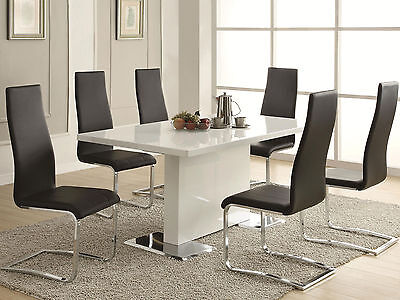 GILMORE - 7pcs Modern White Rectangular Dining Room Table & Black Chairs Set