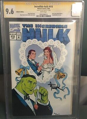Incredible Hulk #418 Cgc Ss 9.6 Signed By Gary Frank Gate Fold Wrap Around Cover