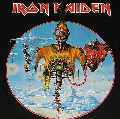 IRON MAIDEN Authentic 2013 ROCK IN RIO Brazil EVENT T-SHIRT with DATES Large NEW