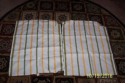 """2 Vntg. """"UNUSED"""" Old Bleach Product Yellow & Green Striped LINEN KITCHEN TOWELS"""