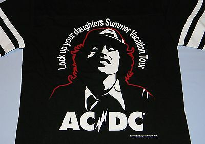 AC/DC RARE Ladies Long Sleeve Shirt '76 Lock Up Your Daughters Tour Repro Size 2