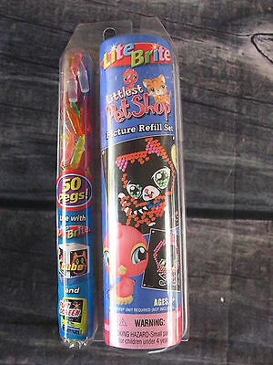Lite Brite Littlest Pet Shop refill set 50 pegs and 8 pictures NIP