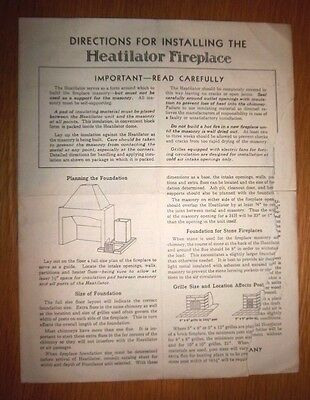 Vintage Heatilator Fireplace Manuel