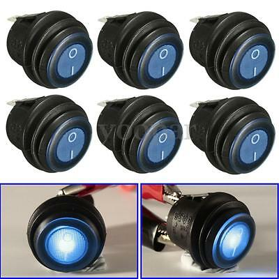 6x 12V Azul LED Luz Interruptor Basculante Switch On/Off 3-Pin SPST Barco Coche