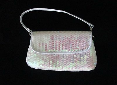 Faded Glory Small Iridescent White Sequin Evening Bag Homecoming, Wedding, Forma