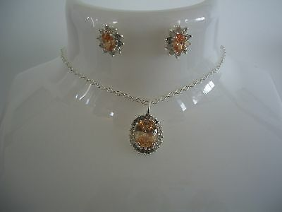 Vintage Sterling Silver Pendant & Chain & Matching Earrings ~ Never Been Worn