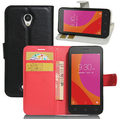 Luxury Flip Stand Leather Cover Wallet Case  + Screen Protector for Lenovo Phone