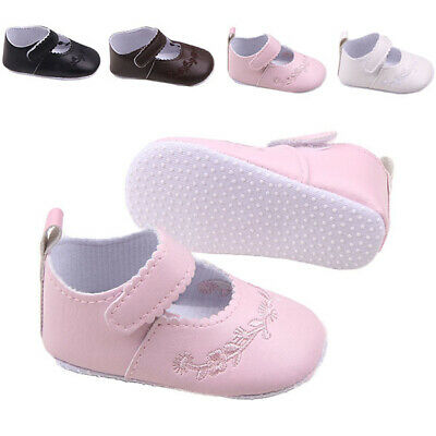 Infant Baby Toddler Girl Stylish Crib Shoes Soft Button Pu Leather Prewalker T85