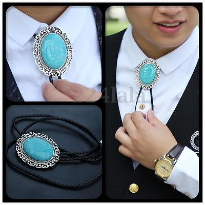 Vintage Silver Plated Turquoise & Coral Stone Western Cowboy Rodeo Bolo Ties