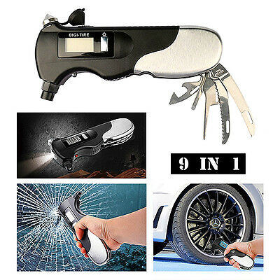 Car Emergency 9-in-1 Safety Hammer Seat Belt Cutter Bus Practical Escape Tool