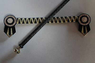 Black & Gold Satin Browband & Black Wrapped Show Crop Set - NEW