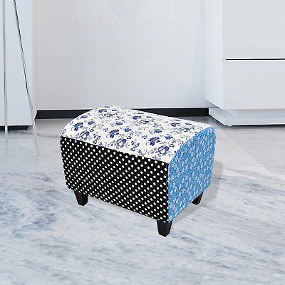 # Patchwork Foot Stool Footrest Ottoman Seat Footstool Blue Chair Bedside Retro