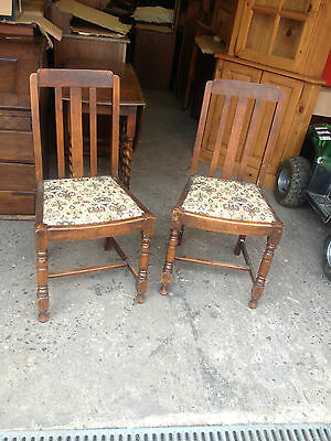 Pair Of Vintage Mid-Century Solid Oak Dining Chairs   Kitchen