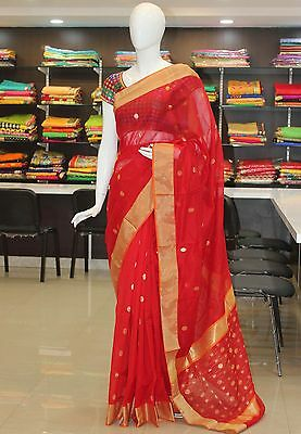 Partywear Festive Red Pure Chanderi Seico Saree Sari in Rich Pallu